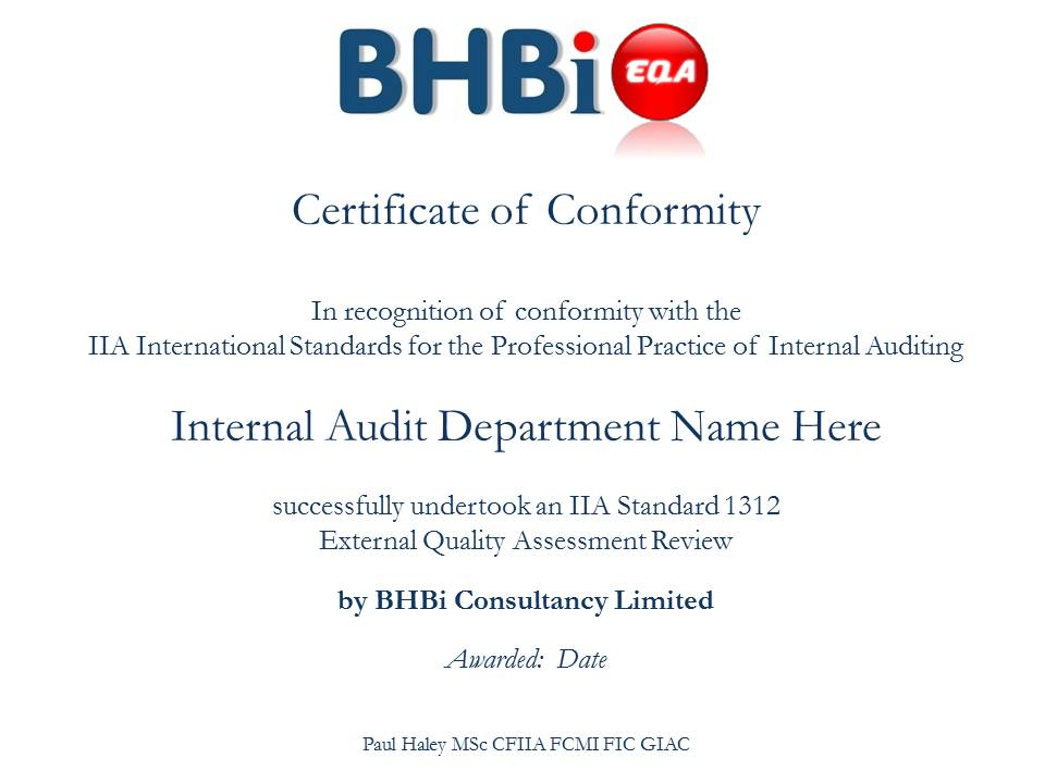Example EQA Certificate Issued by BHBi